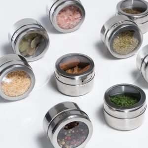 Magnetic Spice Tins Stainless Spice Jars (Set of 6)