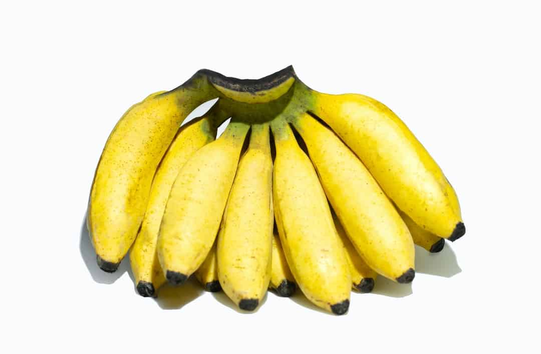 A bunch of ripe bananas sitting next to a banana